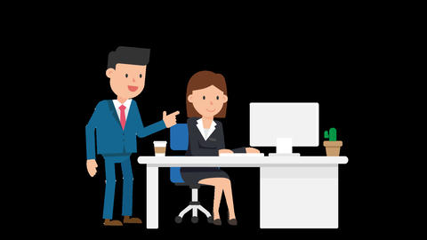 Corporate Man Giving Instructions Loop Animation