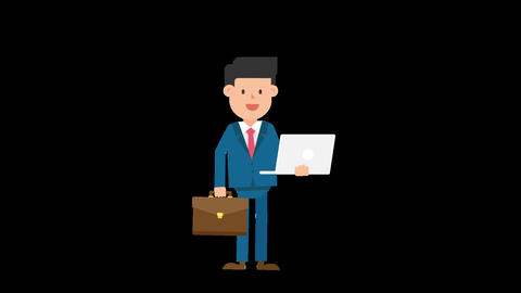 Corporate Man Standing and Holding a Laptop and Suitcase Loop Animation