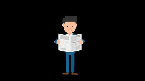Corporate Man Reading a Newspaper Loop Animation