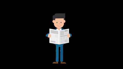 Corporate Man Reading a Newspaper Loop Stock Video Footage