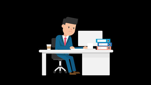 Corporate Man Serious Working At His Desk Animation