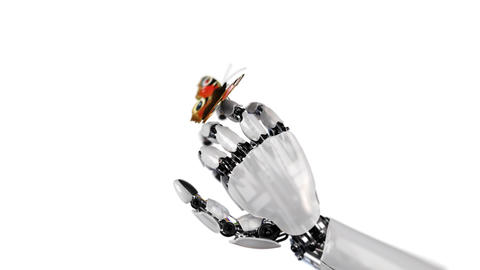 Robot Hand and Butterfly on a White Background Animación