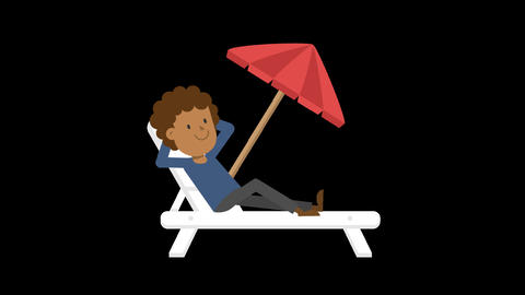 Black Man Relaxing on the Beach Animation