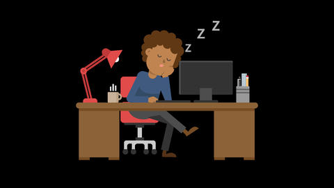 Black Man Sleeping at his Desk Animation