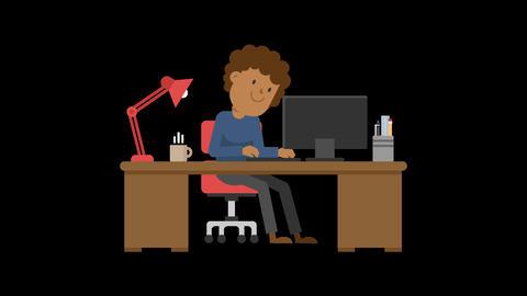 Black Man Working at his Desk CG動画素材