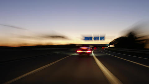 Driving on a German highway at dusk Footage