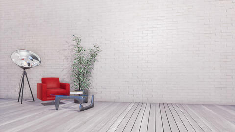 Bright minimalist interior with copy space white wall Footage