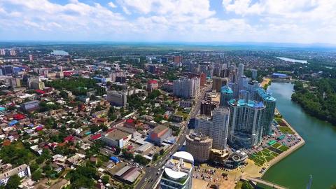 Urban landscape. Air shot over the Kuban river in the southern city of Krasnodar Footage