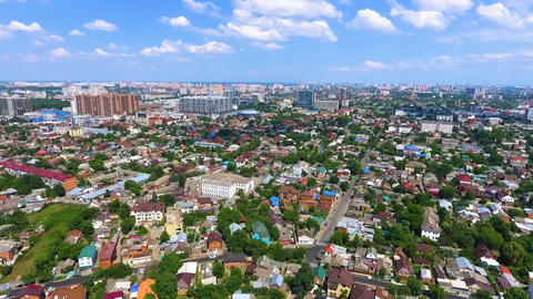 Aerial photography over the Southern city of Russia, Krasnodar.Summer, 2018 Live Action