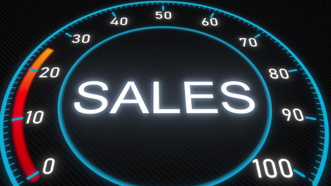 Sales futuristic meter or indicator. Conceptual 3D animation Footage