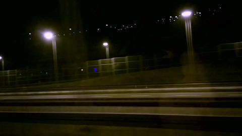 The road at night with lights Footage