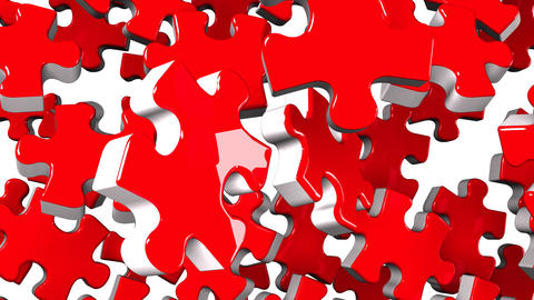 Red Jigsaw Puzzle On White Background Animation
