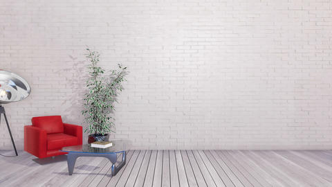 Minimalist interior with copy space white wall Footage