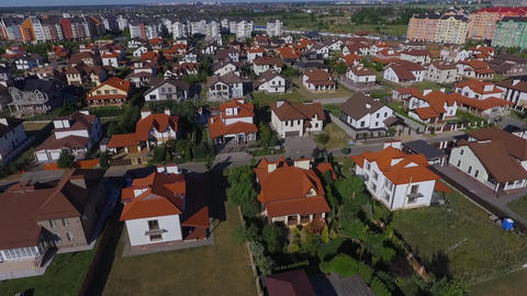 Beautiful modern city. Horizontal view of the roofs of European houses. European Live Action