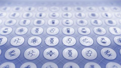 Set of Genetic Icons, Biotechnology Background, CG Loop Animation Animation