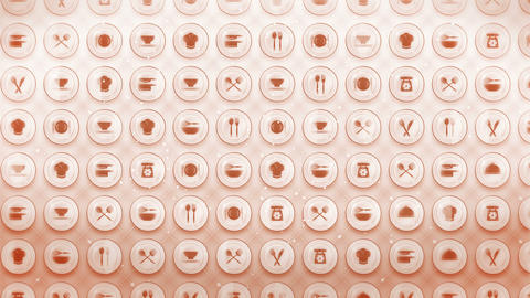 Set of Restaurant Icons, Restaurant Cookware Background, CG Loop Animation Animation