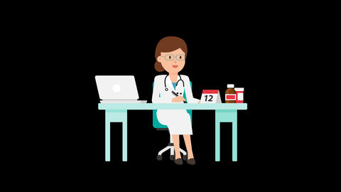 Doctor Working at Desk Loop Animation