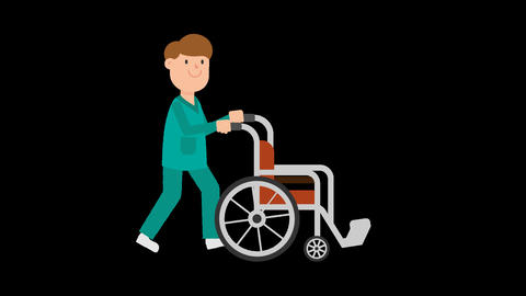 Nurse Pushing Empty Wheelchair Loop Animation