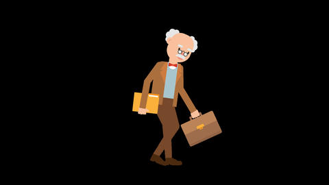 Professor Carrying a Folder and Suitcase Loop Animation