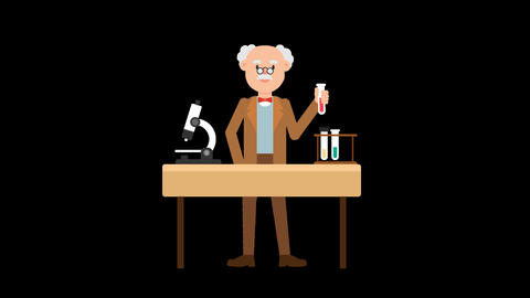 Professor Doing an Experiment Animation
