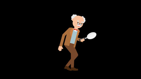 Professor Holding a Magnifying Glass Animation