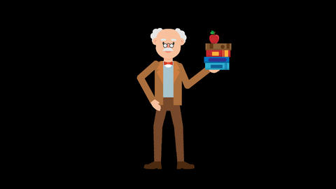Professor Holding Books Animation