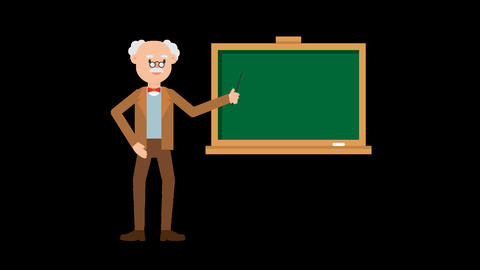 Professor Pointing on the Blackboard Animation