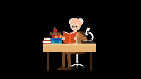 Professor Reading a Book at his Desk Animation
