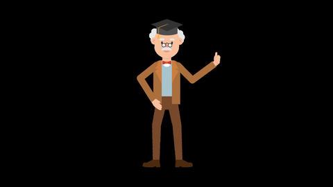Professor Wearing a Graduation Hat Animation
