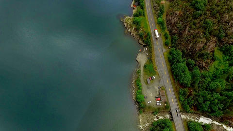 Aerial footage road in Norway. Beautiful Nature Norway GIF
