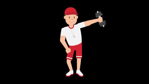 Coach Lifting Dumbbells Animation