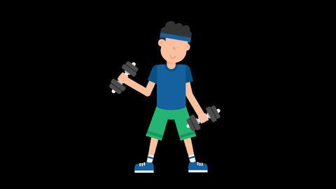 Man Lifting Dumbbells Animation