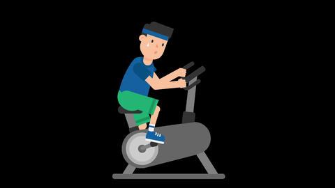 Man on an Exercise Bike Animation