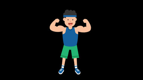 Man Showing Muscles Animation