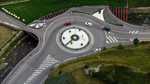 Roundabout of highway, top view.Time Lapse ビデオ
