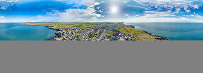 Aerial view of Bull Bay on the Northern coast of Anglesey, Wales, UK Photo