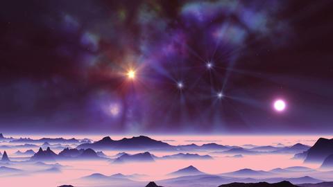 Sunset and Colorful Nebula GIF