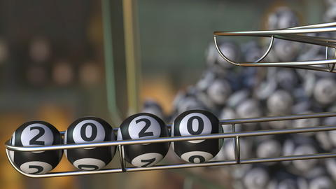 Lotto balls make up 2020 number. 3D rendering Fotografía