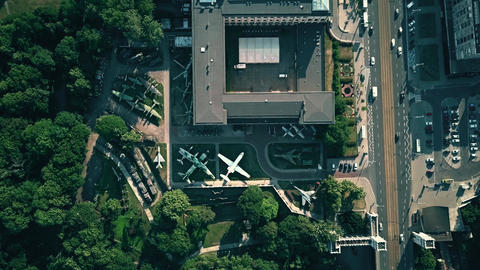 WARSAW, POLAND - JULY 5, 2018. Aerial view of military exhibition at Muzeum Footage