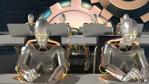 Cyborgs of the future work in sci-fi office on computers. Loopable CG動画素材