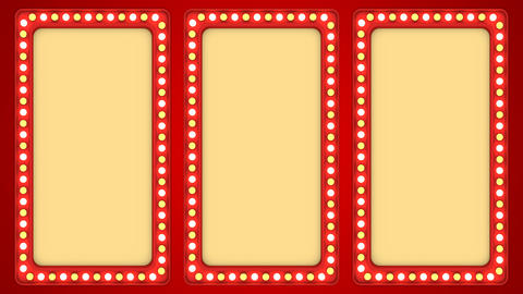 Triple screens flashing light bulbs red frame border sign surface casino Animación