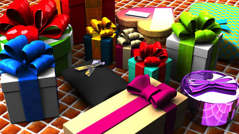 Colorful Gift Boxes, CG動画素材