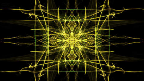 Yellow animated rectangle fractal ornament on black background. Rays of energy Animation