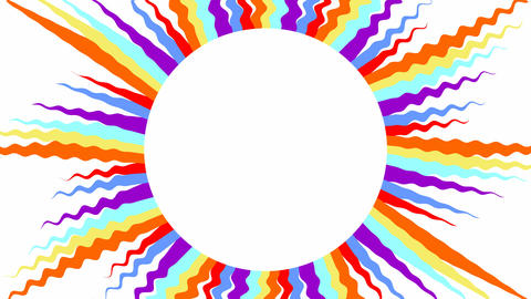 Sun with multicolored wavy rays on white background, video background with copy Animation