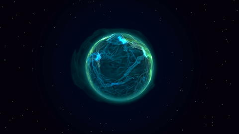 Blue plasma planet in space フォト