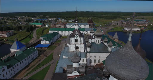 View of the Solovki Monastery from a bird's eye view.White Sea. Russia Footage