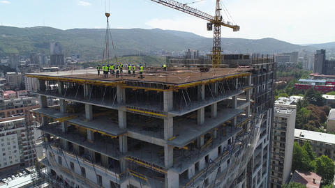 Construction of concrete buildings Footage