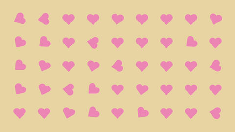 Hearts Turning Randomly Cartoon Vector Background Footage