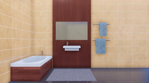 Bathroom interior with copy space beige tiles wall Footage
