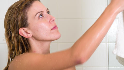 Attractive Woman In The Shower Footage
